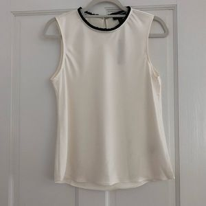 NWT white shell with black trim collar